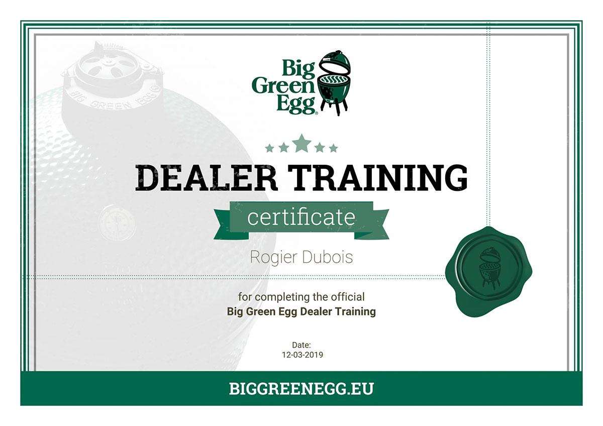 Big Green Egg Dealer Trainig Certificate